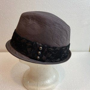 Bebe Hat Fedora Gray Lace